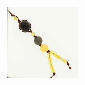 和風携帯ストラップII ブラックシリカ (イエロー) オレンジアンゴナイト オリーブジェイド|bluelace