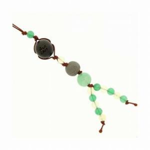 和風携帯ストラップII ブラックシリカ (グリーン) グリーンメノウ アベンチュリン|bluelace