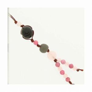 和風携帯ストラップII ブラックシリカ (ピンク) ローズクオーツ ロ−ドナイト|bluelace