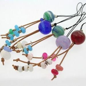 携帯ストラップ 縞々手作りとんぼ玉|bluelace