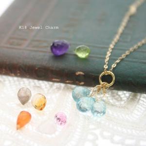 チャーム アクセサリー k18 ネックレス 天然石 3連|bluelace