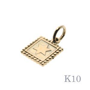 ゴールドペンダントトップ ブルレスター K10 スクエア スタートップ プレート 刻印可 10K 10金 メンズ レディース bluelace