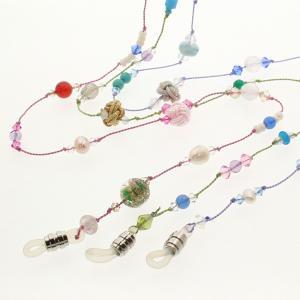 メガネチェーン スワロフスキー 天然石 老眼鏡 グラスコード おしゃれ 手作り ハンドメイド|bluelace