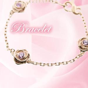 ピンクゴールドブレスレット 薔薇モチーフ チェーンブレス PINK ROSE ピンクローズ silver925 女性用 レディース|bluelace