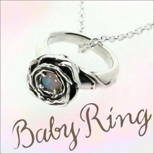 ベビーリング 刻印 指輪 出産祝い オパール 10月 誕生石 バラ ローズ 七五三 ギフト|bluelace