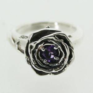 ピンキーリング シルバー 指輪 刻印  2月 誕生石 アメジスト ROSE バラ 1号 3号|bluelace