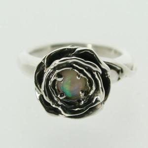 ピンキーリング シルバー 指輪 刻印  10月 誕生石 オパール ROSE バラ 1号 3号|bluelace