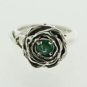 ピンキーリング シルバー 指輪 刻印  5月 誕生石 エメラルド ROSE バラ 1号 3号|bluelace