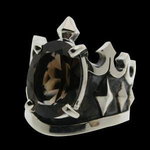 シルバーリング 指輪 刻印 王冠 クラウン スモーキークォーツ Blula ブルレ|bluelace