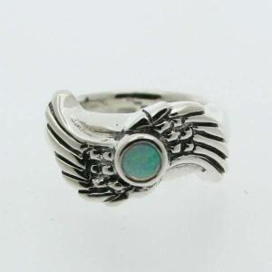 ピンキーリング シルバー 指輪 刻印  10月 誕生石 オパール WINGS 羽根 1号 3号|bluelace