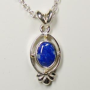 青い天然石ラピスラズリ シルバーペンダントトップ Victorian stones bluelace