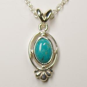 インディアンジュエリーターコイズ シルバーペンダントトップ Victorian stones bluelace