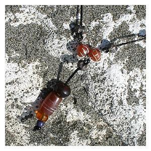 【希少】天然石カーネリアン黒革紐ネックレス Antique Necklece  bluelace