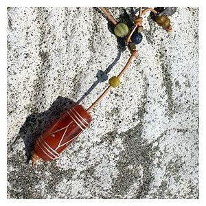 【希少】天然石カーネリアン&ビーズ革紐ロングネックレス  bluelace