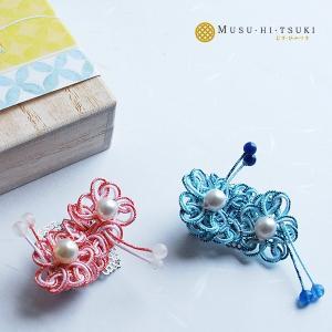 ピンブローチ レディース 真珠 アコヤ真珠 水引 ピンバッジ 花 和風 2|bluelace