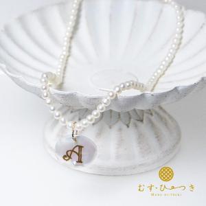 淡水パールネックレス イニシャルネックレス K10 花びら蒔絵パール 日本製|bluelace