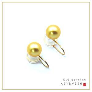 パールイヤリング あこや真珠 耳たぶを優しくはさむ イヤリング パール ゴールド 8.5mm K10 レディース|bluelace