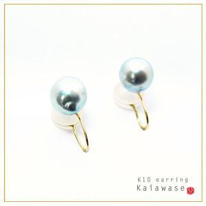 パールイヤリング アコヤ真珠 耳たぶを優しくはさむ イヤリング ナチュラルグレー バロックパール 8.5-9mm イエローゴールド K10 レディース|bluelace