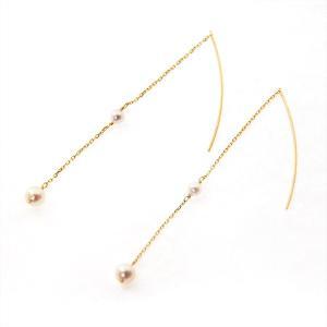 あこや真珠 ベビーパール ピアス アメリカンピアス 2粒真珠 3.5-4.5mm K10 K18|bluelace