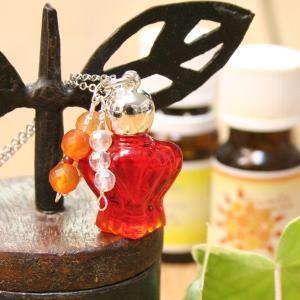 アロマペンダント ネックレス アロマディフューザー アンティーク調香水瓶 ガラス 天然石|bluelace