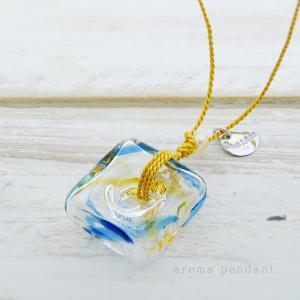 アロマペンダント ネックレス ガラス アロマデュフューザー 青 ガラス 淡水パール|bluelace