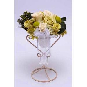プリザーブドフラワー リングピロー スタンド大(ホワイト)/お花のギフト|bluelace