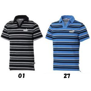 【ゴルフウエア】PUMA(プーマ) ESS+ ストライプ オープンポロシャツ 843869【350】 bluepeter