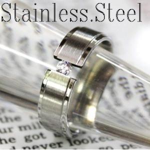 リング/指輪/シンプル甲丸リング/ワンポイントキュービック/ステンレス製/6mm幅|bluestar-shop