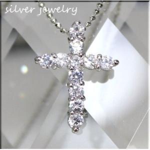 シルバー925/【silver925】ジュエリー仕上げ/人気のクロスペンダントトップ/CZダイヤ|bluestar-shop