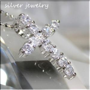 シルバー925/【silver925】ジュエリー仕上げ/人気のクロスペンダントトップ/CZダイヤ|bluestar-shop|02