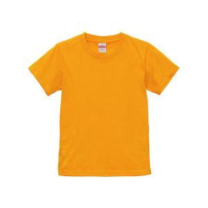 Tシャツ キッズ ボーイズ ガールズ 半袖 無地 uネック 厚手 綿100 シャツ tシャツ スポーツ 子供 クルーネック 男 女 90 100 110 120 130 140 150 160 オレンジ|bluestyle