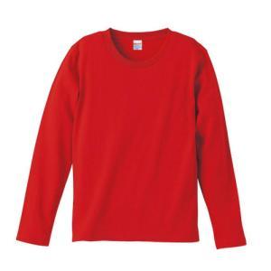 Tシャツ メンズ レディース 長袖 無地 uネック 綿 綿100 大きい 厚手 シャツ tシャツ スポーツ ブランド トップス クルーネック 丈夫 男 女 s m l 2l 3l 赤 色|bluestyle