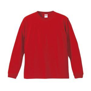 Tシャツ メンズ レディース 長袖 無地 uネック 綿 綿100 大きい 厚手 シャツ tシャツ スポーツ ブランド トップス クルーネック 丈夫 男 女 xs s m l 2l 3l 赤|bluestyle