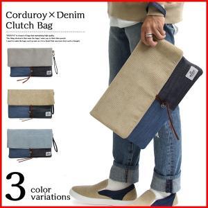 クラッチバッグ メンズ a4 大きめ 大容量 セカンドバッグ カジュアル おしゃれ 普段使い 人気 デニム コーデュロイ 男 おすすめ 通学 メンズバッグ 鞄 ギフト|bluestyle