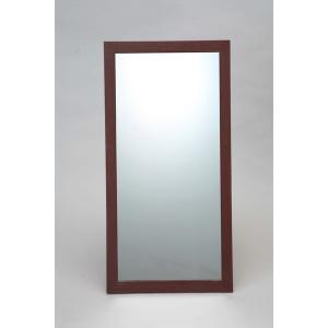 ウォールミラー/全身姿見鏡 〔壁掛け用〕 L2 木製フレーム 壁掛けひも付き 日本製 ブラウン