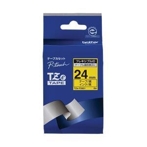 (まとめ)ブラザー ピータッチ TZeテープフレキシブルIDテープ 24mm 黄/黒文字 TZE-F...