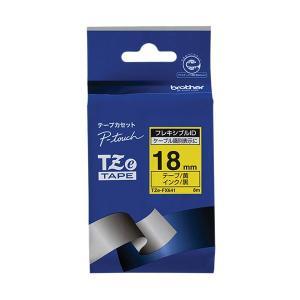 (まとめ)ブラザー ピータッチ TZeテープフレキシブルIDテープ 18mm 黄/黒文字 TZE-F...