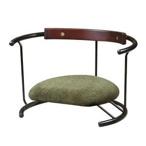あぐら椅子/正座椅子 〔スウィング背もたれ付き モスグリーン×ブラック〕 幅60cm 耐荷重80kg...