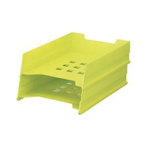 (まとめ)LIHITLAB マルチレタートレー A-7300-6 黄緑〔×30セット〕