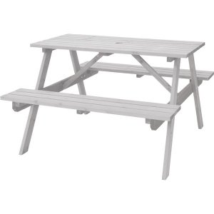 屋外用 テーブル&ベンチ 〔ホワイト〕 幅120cm×奥行135cm×高さ75.5cm×座面高45c...