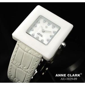 腕時計 レディース アンクラーク ANNE CLARK 本革 おしゃれ ハート ホワイト セラミック かわいい ギフト プレゼント レディース時計 時計 革 三つ折り金具 人気|bluestyle