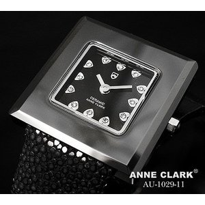 腕時計 レディース アンクラーク ANNE CLARK おしゃれ ハート ブラック 黒 セラミック かわいい ギフト プレゼント レディース時計 時計 皮 三つ折り金具 人気|bluestyle