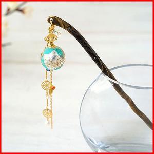 かんざし 簪 アクセサリー ヘアアクセサリー 手作り 結婚式 京都 日本製 使い方 ヘアアレンジ 緑 kanzashi プレゼント かわいい おしゃれ  ガラス|bluestyle