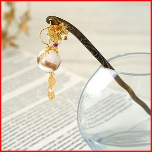 かんざし 簪 アクセサリー ヘアアクセサリー 手作り 結婚式 京都 日本製 使い方 ヘアアレンジ 金 kanzashi プレゼント かわいい おしゃれ  ガラス 花|bluestyle