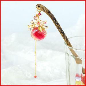 かんざし 簪 アクセサリー ヘアアクセサリー 手作り 結婚式 京都 日本製 使い方 ヘアアレンジ 赤 kanzashi プレゼント かわいい おしゃれ  ガラス 花 ゴールド|bluestyle