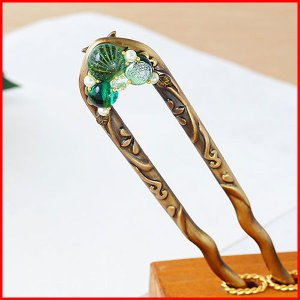 かんざし 簪 アクセサリー ヘアアクセサリー 手作り 結婚式 京都 日本製 使い方 ヘアアレンジ 緑 kanzashi プレゼント かわいい おしゃれ  ガラス ジルニコア|bluestyle