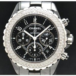 (ウォッチ)(メーカーOH済) CHANEL シャネル J12 クロノグラフ ダイヤベゼル ブラック セラミック 黒 H1009 41mm メンズ 腕時計 オートマ 自動巻(u)|blumin