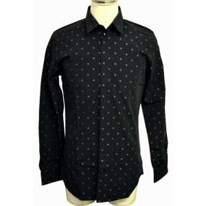 (アパレル)DOLCE&GABBANA ドルチェ&ガッバーナ D&G メンズ 長袖柄ドレスシャツ コットン GOLDライン サイズ39 黒(u)|blumin