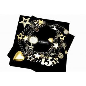 DOLCE&GABBANA ドルチェ&ガッバーナ D&G DG ドルガバ スター&ナンバーチェーン ネックレス メタリックブラック × ゴールド × シルバー(u)|blumin