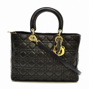 (バッグ)Christian Dior クリスチャンディオール カナージュ レディディオール 2WAYハンドバッグ 黒 ブラック ゴールド金具 CAL44560(k) blumin